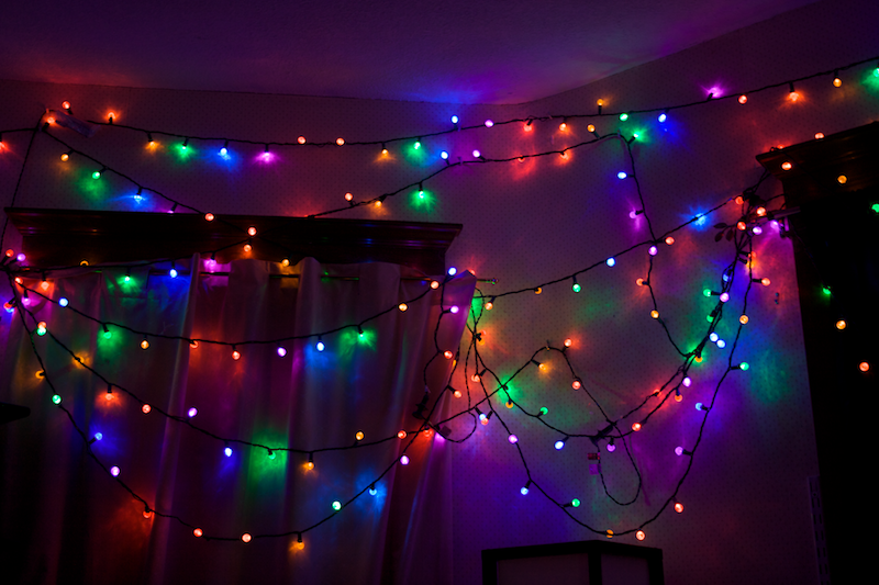 my room is of course now decorated with several strings of rainbow colored lights i find highly saturated colors soothing i particularly like them in